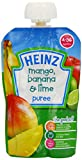 Heinz Mango/ Banana and Lime Fruit Pouch 4-36 Months 100 g (Pack of 6)