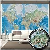 Fotomurales Mappamondo - Decorazioni pareti Proiezione di Miller con design plastico in rilievo Terra Atlante Globo Mappa GeografiaI Fotomurales by GREAT ART (336 x 238 cm)
