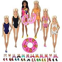 Miunana 12 Artículo= 5 Trajes de Baño Bañador Suave Playa Bikini Perfeccione Verano Ropa Biquini Específicamente + 2 Flotador Neomatico + 5 Zapatos Sandalias Vueltas de Natación para 11.5 Pulgadas Muñeca Barbie Doll