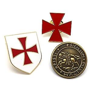 BOBIJOO Jewelry – Los 3-anstecker Orden der Tempelritter-Siegel Kreuz auf Rotem Schild