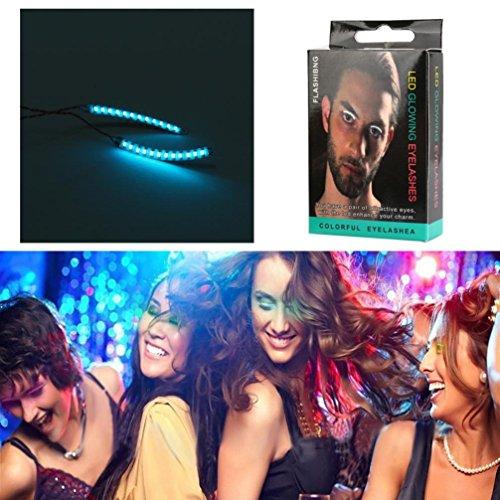 Kosten Halloween (LED Wimpern wasserdicht, iHee 1 Paar Unisex LED Waterproof Eyelashes Eyelid False Eyelashes 7 Shift Colors Club Bar Party Fashion Show)