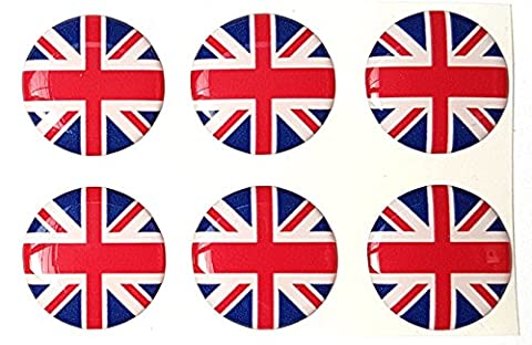 Union Jack British Flag Round Sticker Decal Badge 3d Resin Gel Domed 6 Pack 20mm
