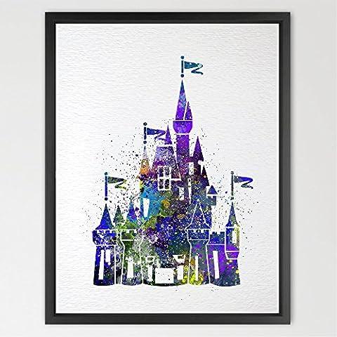 dignovel Studios Cenicienta Disney princesa castillo impresión de arte Acuarela impresión para niños los niños de decoración de la pared arte de la pared decoración para el hogar para colgar en la pared