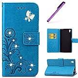 EMAXELERS Sony Xperia Z2 Hülle Schmetterling PU Leder Lederhülle Flip Tasche Wallet Schutzhülle Etui Bookstyle Handyhülle Hülle für Sony Xperia Z2,Diamond Blue Clove with Butterfly