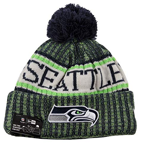 New Era ONF18 Sport Knit Bommelmütze Seattle Seahawks Blau Grün, Size:ONE Size