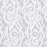 Fabulous Fabrics Spitzenstoff Blumenstickerei - Weiss -