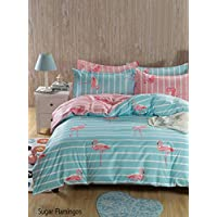 Adam Home New Multi Design Duvet Quilt Cover With Pillowcases Bedding Set - Sugar Flamingo Reverse - King