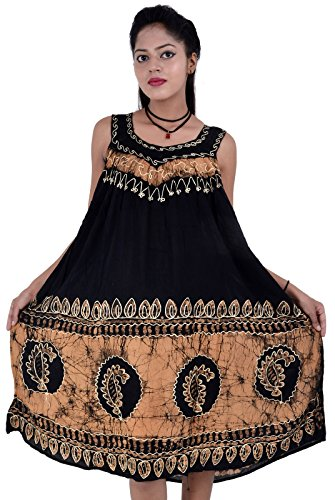 Boho Kostüm Gypsy (Damen Dame Sommerkleid Regenschirm Schnitt gestickt Cocktail Abend Boho Top Beachwear Tank Kleid Sundress Gypsy Free Size (SCHWARZ)