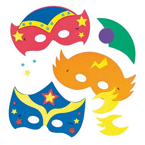 Kit maschere da supereroe stellare in gommapiuma per bambini da decorare e indossare, ideali da regalare alle feste o per carnevale (confezione da 4)