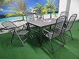 7-teilige Luxus Streckmetall Aluminium Polywood Gartenmöbelgruppe von RRR, Klappsessel und Gartentisch 150x90 anthrazit, P27
