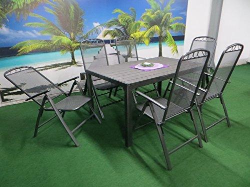 7-teilige Luxus Streckmetall Aluminium Polywood Gartenmöbelgruppe von RRR, Klappsessel und...