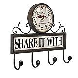 [en.casa]® Reloj de pared decorativo con perchero - ganchos para colgar con pantalla analógica - 40 x 8 x 34 cm - de varios colores