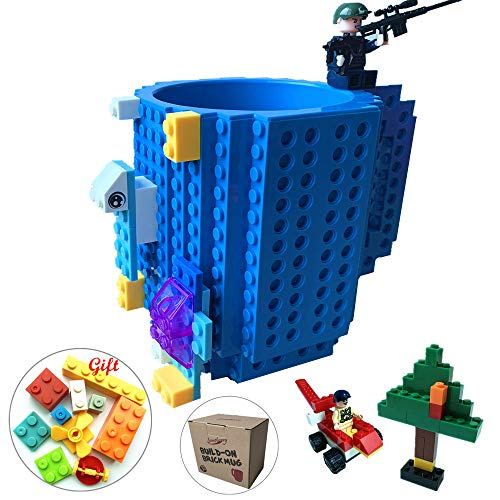 Lumsburry Build-on Bricks Tassen Becher, Kreative DIY Kaffeetasse Baustein Kaffee Tee Trinken Spa? Trinken Geschenk (Blau)