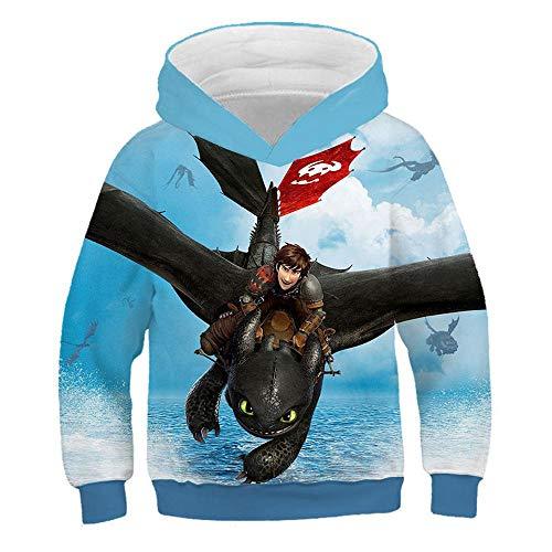 \t Kinder Sweatshirt Dragon 3D Print Kapuzenpullover Langarm Hoodie Oberbekleidung Blue E-130 -
