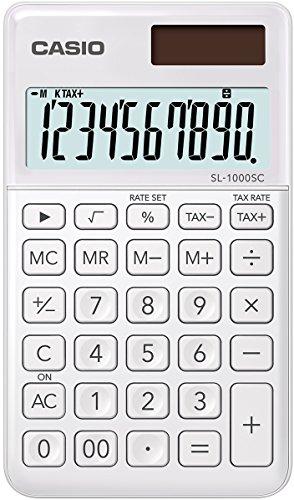 Casio SL-1000SC-WE stylischer Taschenrechner, 10-stellig, in sechs Farbvarianten