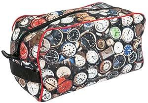 "Concept Covers Mens 10"" Overnight Travel Shaving Gym Wash Bag - Clocks Design - 100% Cotton Panama"