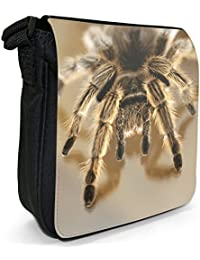 Close-up of a Tarantula Spider Small Black Canvas Shoulder Bag / Handbag