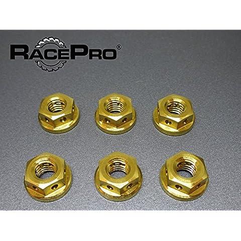 Forato - 6x oro M10 x 1.25 Titanio Dadi metrico Car Kit Hot Rod luce della bici - Metrica In Acciaio Rod
