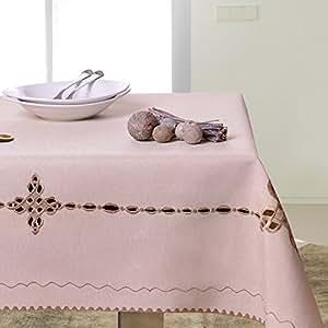 35x35 beige Tischdecke Tischtuch geometrisches Muster gestickt elegant praktisch pflegeleicht Leinoptik Lein Optik mit Borte Modern STP35