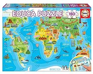 Educa Borrás- Mapamundi Monumentos Puzzle, Multicolor (18116)