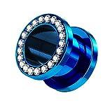 Piercingfaktor Flesh Tunnel Schraub Plug Ohr Piercing Edelstahl Titan mit Schraubverschluss Zirkonia Kristallen Steinen 4 mm Blau