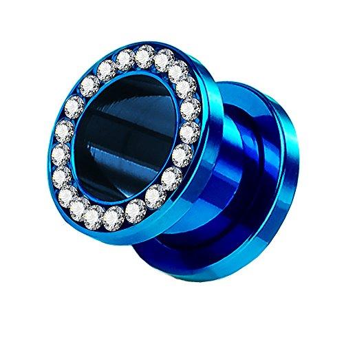 Tunnel Schraub Plug Ohr Piercing Edelstahl Titan mit Schraubverschluss Zirkonia Kristallen Strass Steinen 10mm Blau (Farbigen Glas-steinen Blau)