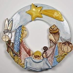 Girlande mit mittlerer Krippe mit handgemachten Applikationen, die die Krippe darstellen: Jesus + St. Joseph + Madonna…