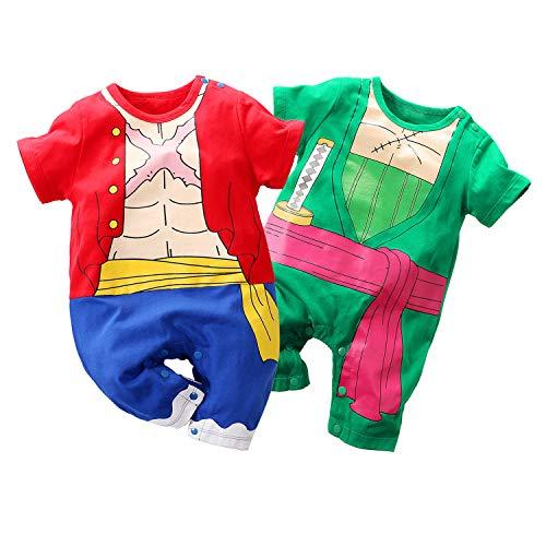 Baby Kostüm Naruto - Baby Jungen Mädchen 2er Pack Kurzarm Strampler Naruto One Piece