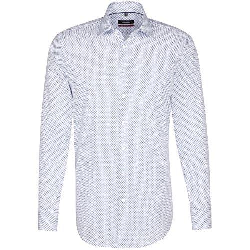 Seidensticker Herren Langarm Hemd Modern Business Kent Print Weiß/Blau Strukturiert 113340.14 (Blau (Blau 14), 45) - Strukturierte Baumwolle Shirt