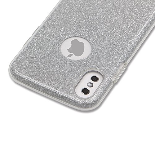 Custodia per iPhone X Sparkling Brillantini - Girlyard Scintillante Scintillio Bling Rigido Dura in Plastica Back Cover Case Sottile Colorate per Apple iPhone X - Gradiente Grigio Scuro Argento Puro