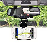 #6: ICEBERG MAKERS.IN Universal 360 Degree Rotation Car Rearview Mirror Mount Holder Stand Cradle for All Mobile Cell Phone GPS