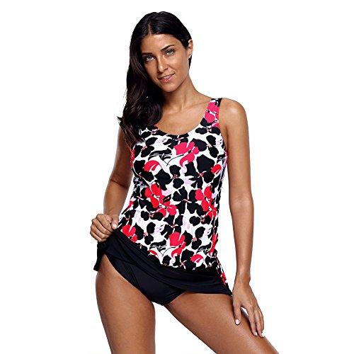FGDJTYYJ Damen Plus Size Pink Schwarz Floral Tankini 2 Stück Skirtini Badeanzug Wireless gepolsterte BH Bikinis, l -