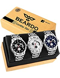 Beardo Quartz Movement Analogue Display Multicoloured Dial Men's Watch(ARMBLK~27GREY~27SMILY) - Pack of 3