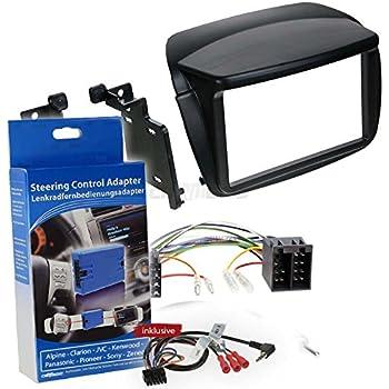Kit Autoradio Adapter Radio Blende Autoradio Rahmen Adapter Schwarz +ISO-Konverter Aerzetix Adapter Kabel Radioadapter