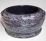 "designgrab ""Exclusiv grande"" Grabschale Durchmesser 34 cm aus Granit Granit Orion Blue / Coromandel / Bahama Blue Friedhofsschale Grabschmuck Granitschale Pflanzgrabschale Grabmalschale Pflanzschale"