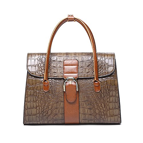 Kieuyhqk Frauen Schwarze Krokodil Tote große Kapazität Leder Schulter Crossbody Handtasche Frauen Casual Handtasche Schulter-Handtasche (Farbe : Braun)
