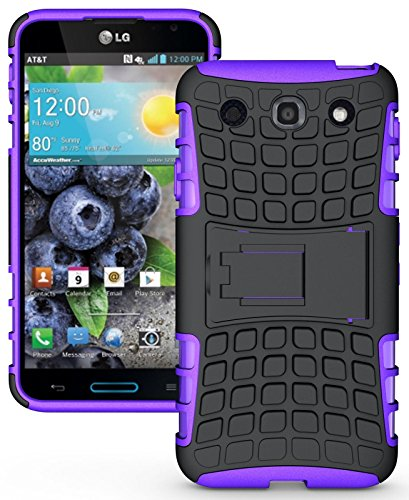Heartly Flip Kick Stand Hard Dual Armor Hybrid Rugged Bumper Back Case Cover For LG Optimus G Pro F240 E985 E988 - Purple  available at amazon for Rs.319