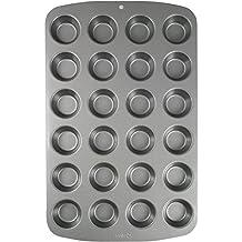 PME CSB111 Moule Anti-adhérent en Acier au Carbone Pour 24 Mini Muffins, Acier Inoxydable, Silver, 39.4 x 24.6 x 2.1 cm