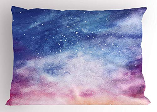 HFYZT Navy and Blush Pillow Sham, Watercolor Style Starry Space Galaxy Nebula Abstract Cosmos Inspired, Decorative Standard King Size Printed Kissenbezug Pillowcase, 18 X 18 inches, Blue Pink Salmon (Navy King-size-pillow Shams)