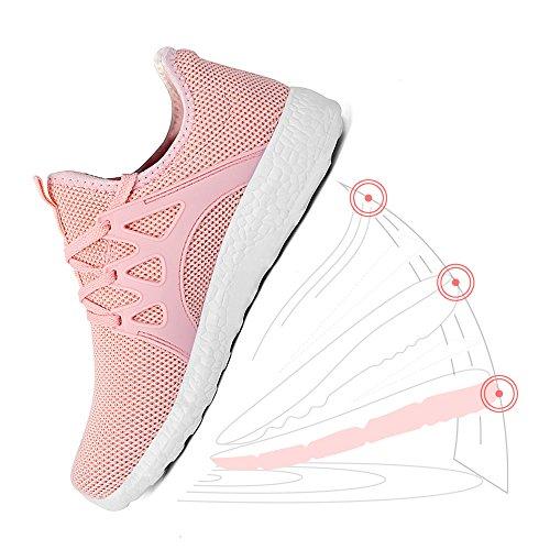 ZOCAVIA Scarpe da Corsa Atletiche Sneakers Donna Sportivo in Moda Scarpe Elegante da Ginnastica Rosa