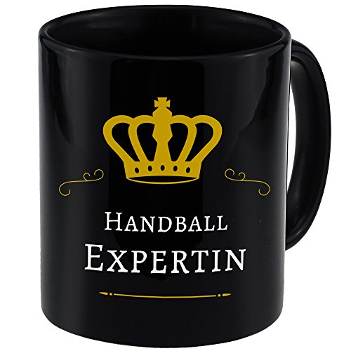 Tasse Handball Expertin schwarz - Becher Pott Kaffee Tee Lustig Witzig Sprüche