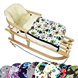 BambiniWelt Kombi-Angebot Holz-Schlitten mit Rückenlehne & Zugseil + universaler Winterfußsack (108cm), auch geeignet für Babyschale, Kinderwagen, Buggy, aus Wolle im Eulendesign (Eule $4)