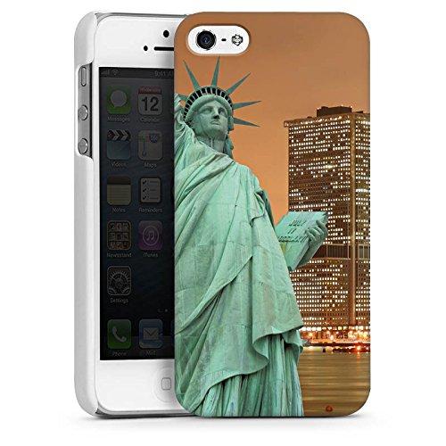 Apple iPhone 4 Housse Étui Silicone Coque Protection Horizon Statue de la liberté New York CasDur blanc