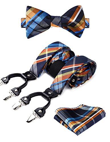 Hisdern controllare stripe 6 clip bretella & cravatta a farfalla & pocket square set forma a y regolabile bretelle arancione/blu