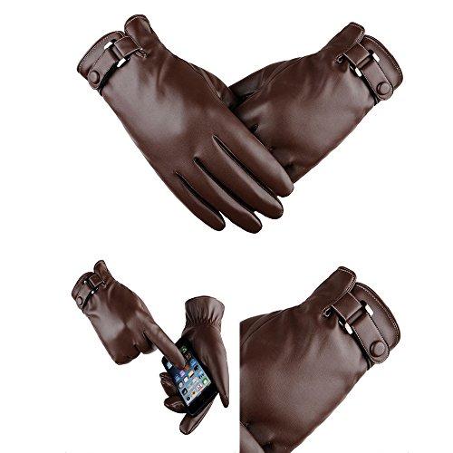 59c1fbc890eec1 Finoki Erwachsene Leder Reithandschuhe Wasserdichte Winter Warme  Touchscreen Handschuhe PU (Braun A)