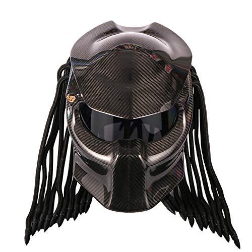 Casco Moto Predator In Fibra Di Carbonio, Casco Integrale Iron Warrior Uomo, Certificazione Di Sicurezza DOT (Nero)
