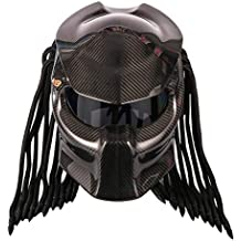 Casco De La Motocicleta Predator Carbon Fiber, Casco Completo Iron Warrior Para Hombre, Certificado