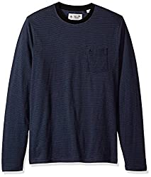 Original Penguin Mens Long Sleeve Striped Feeder Tee, True Black, Large