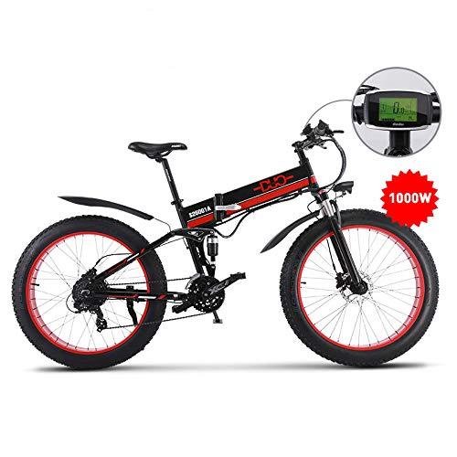 GUNAI 26 Pulgadas Neumático Gordo Bicicleta Eléctrica 1000W 48V Ebike Shimano 21 Speed Snow MTB Bicicleta Eléctrica Plegable