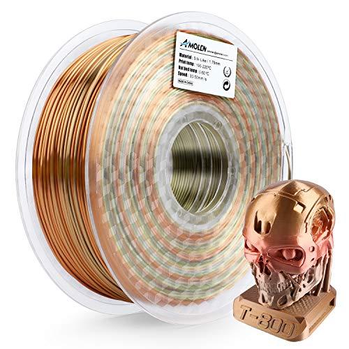 AMOLEN PLA Filamento Impresora 3D 1.75mm Seda Metal Rainbow Multicolor 1KG,+/- 0.03mm Materiales de impresión 3D de filamento, incluye Glow in the Dark Verde Muestra Filamento.